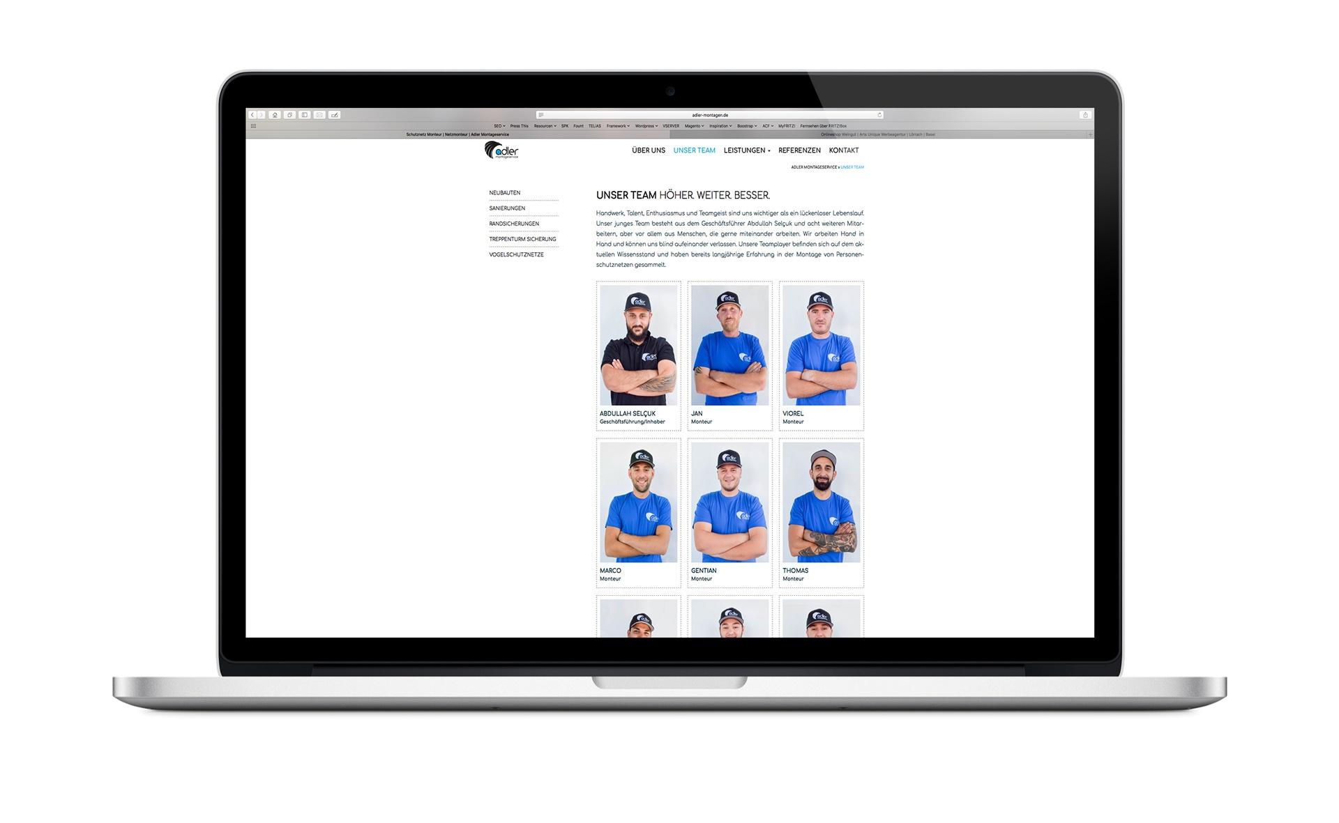 Webdesign Beispiel Montageservice Bauwesen