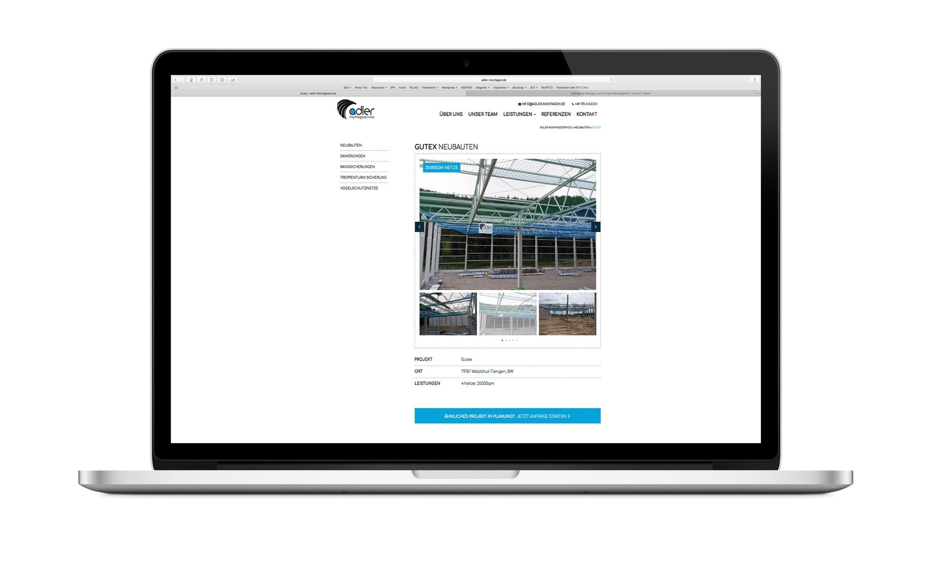 Webdesign Beispiel Montageservice